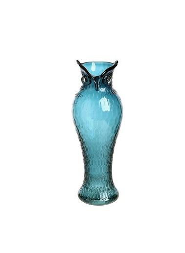 Warm Design Mavi Cam Baykuş Vazo Mavi